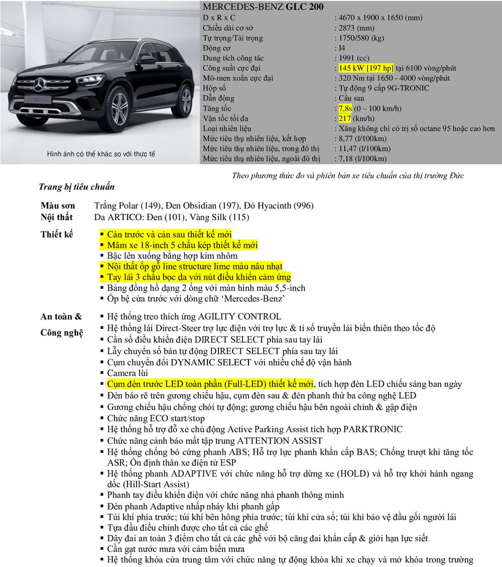 Thông số kỹ thuật Mercedes GLC 200