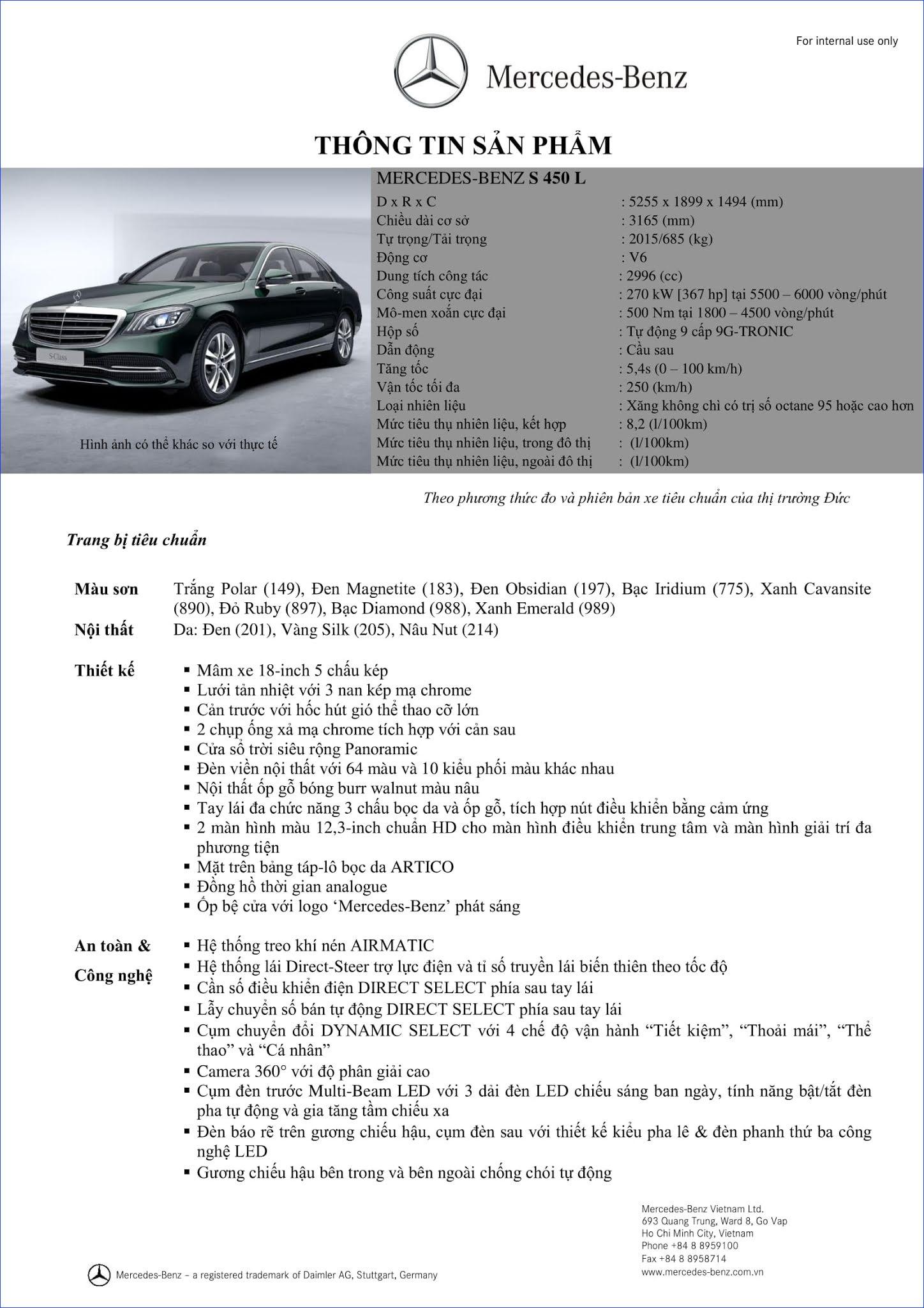 Thông số kỹ thuật Mercedes S450 2021
